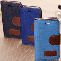 50pcs/lot  Denim Jean Cloth + PU leather case  for samsung S5 S4 S3 Note3 flower cloth  wallet for iphone 5 4  free  by DHL