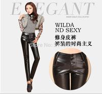 Female  Fall PU leather pants waist women plus velvet  full leather leggings tight pants feet pencil pants Slim trousers 8221