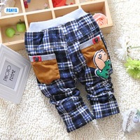 4pc/lot baby winter pants plaid kids trousers thicken children velvet pants dog girls boys clothes wholesale PANYA DYF15