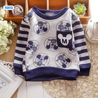 4pc/lot baby Winter t shirt mickey stripe boys Clothing Kids pullover velvet children thicken tees wholesale PANYA DJS21