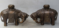 "10"" Chinese Bronze Carved Animal Elephant Heffalump Lotus Flower Pair Statue"