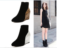 Free shipping new  fashion women's boots 2014 European and American leopard light leather boots slope with pointed women boots