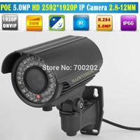 2014 Newest 5MP IP Camera Onvif P2P H.264 42PCS Waterproof Vandalproof Outdoor IP Camera POE CCTV Camera 2.8-12MM