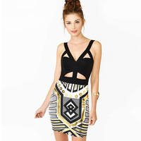 Big Brand New Sexy Bandage Dresses Bodycon Nightclub Suspender-straps Backless Geometry Print Dress Women High Quality Wholesale