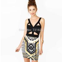 Brand New Vestidos Sexy Bandage Dresses Bodycon Nightclub Suspender-straps Backless Print Dress Women's High Quality Wholesale