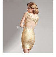 New Deep V Neck Foil Bandage Dresses Foil-print Gold Bodycon Dress Women Party Club Backless Sexy Elegant High Quality Wholesale