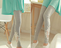 New arrival 2014 Flower Engraving Fashion Women Skinny Pants Casual Embroidery Leggings For Spring Autumn Free Shipping
