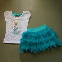 Girls Frozen Princess Elsa Dress + Tshirt 2 Pcs Set Sky Blue Layered Tutu Dress Sets Frozen Clothing frozen kids dress BC082
