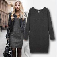 New Arrival 2014 Women Fashion Winter Dress Thickening Warm Velvet Casual Dresses Long Sleeve Vestidos Plus Size Women Clothing