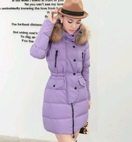 2014 women new winter coat han edition fur hooded long slim fit show thin cotton-padded clothes women down jacket outwear
