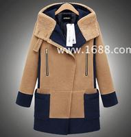 2014 Autumn Winter Women Coat Woolen Down Jacket Casacos Femininos Desigual  Europe Style Contrast color cloth coat Outerwear