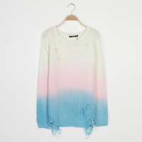 2014 New Autumn Women Fashion Gradient Pullover Sweaters Ladies O-Neck Long Sleeves Knitwears 7046116304