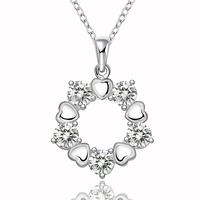 HOT 925 Sterling Silver Jewelry Flower Women's Necklace Chain Pendant Clear Zircon Crystal N566