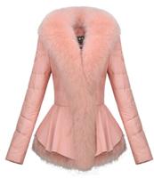 new 2014 Genuine leather jacket female winter leather coat large fox collar brief paragraph outwear Down & Parkas plus size XXXL