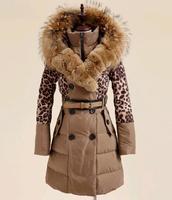 Top Design New 2014 Women Winter Down Coat Luxury Raccoon Fur DownJacket FemaleLong Slim Fit Adjustable Waist Overcoat