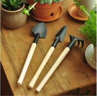 2014 New Plant Garden Tools Set with Wooden Handle Gardening Shovel Rake small garden tools set Free Shipping FK871363