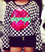 Sale! Women Harajuku Street Fashion Personalized Shining Geometric Doodle Letter Long Sleeve Short Plaid Sweatshirts Y-1107