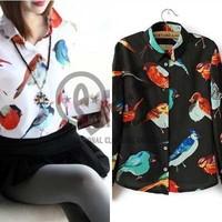 2014 fashion colorful big bird print women chiffon blouse & shirts autumn new long sleeve blusas femininas TOPS Q115
