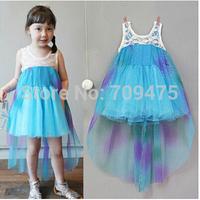 1 set free shipping 2014 Fall Girl Summer Sleeveless Sundress Lace tutu Dress Frozen Princess Mesh Ball Gown Dress