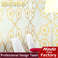 [KINGHAO]gold and silver color wall tile design picture glass wall tile mosaic art mosaic tile