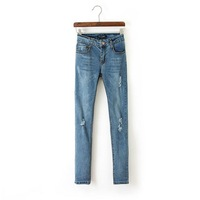 2014 New Autumn Women Casual Jean Blue Zipper Fly Women Pencil Pants Ladies Fashion Ripped Trousers with Pockets 4020101104