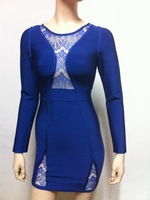 Free shipping 2014 New arrival Women's blue red long sleeve lace Bandage Dress HL Evening porm Dresses HL