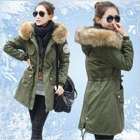 2014 New women coat Long Large Fur Collar Fashion Big pockets Zippers Adjustable Waist Thick Hooded jacket women winter jacket