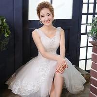 White Wedding Dress 2014 Sweet Net Yarn Spaghetti Straps Empire Waist Wedding Dresses for Bride S, M, L, XL
