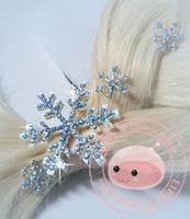 2014 New Snowflake Style Frozen Princess Snow Queen Elsa Hair pins Set (1 Hair Clip + 5 Small Hair Pin)