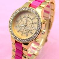 100pcs/lot hot sale 3 eyes chronograph Double Row Crystal Alloy Geneva Brand Rose Gold Watch Wrap Quartz Unisex Metal
