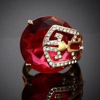 Fine Jewelry 18K Gold Plated Women Wedding Ring AAA Swiss Red Cubic Zirconia Diamond Finger Rings ER003