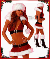 Bikini Christmas dress sexy low cut Christmas night bar deep V spice DS collar Dance Costume Costume