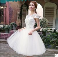Short White Wedding Lace Dress 2014 Short Sleeve Lace Up Wedding Dresses Slim Princess Wedding Dress