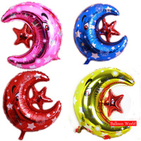 Wholesale Foil Moon Star Shape Balloon Gold Red Blue Purple Option Birthday Party Christmas Wedding Party Decoration