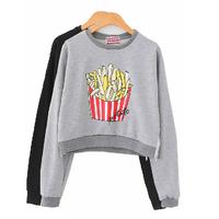 2014 Autumn Women Korean Street Fashion Cartoon French Fries Letter Print Zipper Long Sleeve Loose Cropped Sweatshirts Y-1108