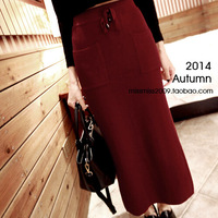 2014 Autumn Women Solid Red Gray Knitted Split Long Skirt European Vintage OL Slim Saias Pockets Drawstring High Elastic Faldas