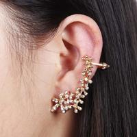 Women Girls Flower Clip Earring For Women Statement Jewelry Gold Rhinestone Ear Cuff Beautiful Stud Earrings Free Shipping