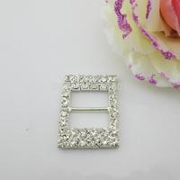 (FL753 inner bar 17mm)20 X Rhinestone Buckle Invitation Ribbon Slider For Wedding Supply Silver Color