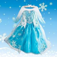 Free shipping Hot sale princess elsa Frozen elsa princess dress girl Holiday dresses elsa costume Frozen cosplay dress kids gift