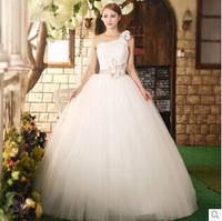 2014 Autumn New Arrival One Shoulder Flower Wedding Dress Slim Empire Waist Wedding Dresses Ball Gown