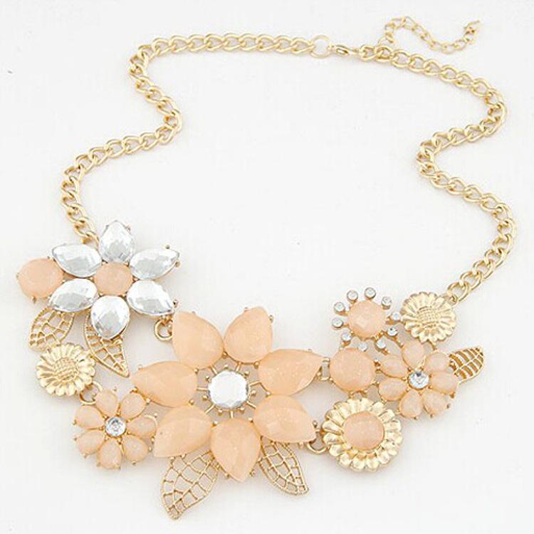 2014 New Statement Necklace Flower Choker Shourouk Chain Rhinestone Retro Fashion Necklaces Pendants Jewelry For Women