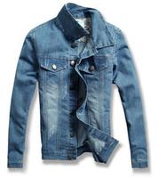 2014 spring male denim jacket men's clothing thin slim outerwear clothes short design