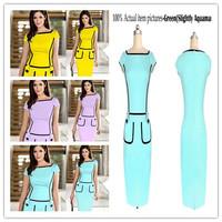 Plus Size 2014 Fashion Women Office Dress Work Wear Short Sleeve Formal Party Bodycon Midi Dresses Yellow Ladies Clothing Summer