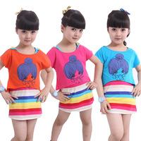 Meninas Vestir Peppa Mixed Group Of 321 Pro S Of Cotton Children's Summer Paragraph Rainbow Stripe Dress Set A Generation Of Fat