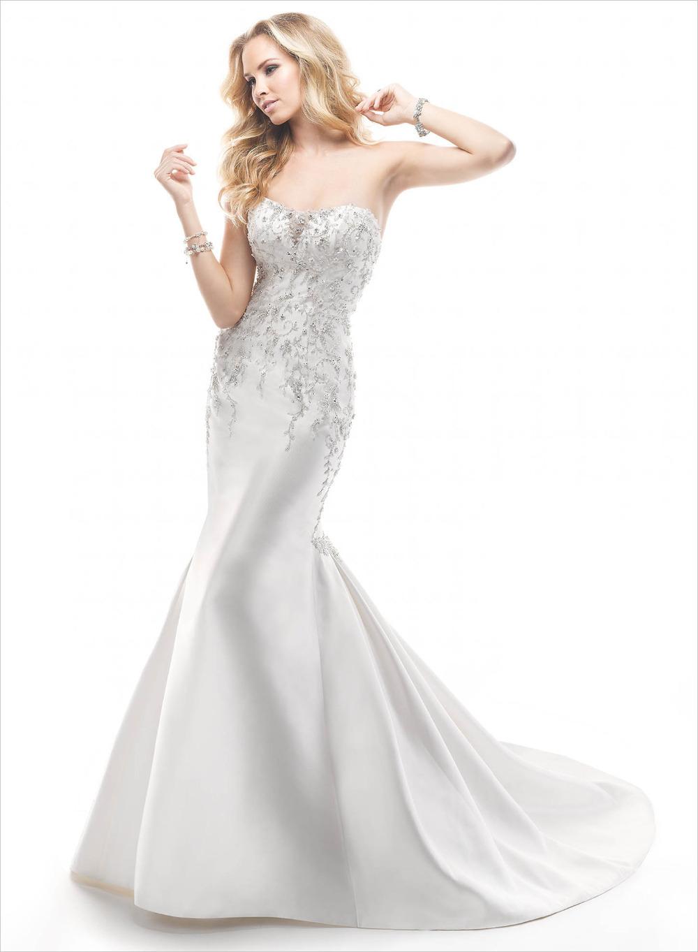 New listing on the 2014 air quality mermaid wedding dress high fashion elegant strapless beaded sleeveless(China (Mainland))