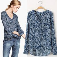 2014 new  wholesale trade European style wild temperament cotton V-neck skirt printing ladies fashion casual shirt free shipping