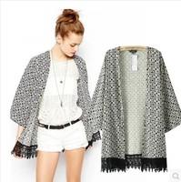 2014 casual kimono jacket Fashion Women's Vintage Flower Print Chiffon women's jacket Women Loose Chiffon Kimono Cardigan W00363