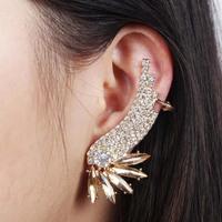 New Women Crystal Clip Earring Statement Jewelry Gold Rhinestone Ear Cuff Angle Wing Stud Earrings Free Shipping