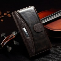 Book style Lichee Pattern Flip PU Leather Case Wallet Card Holder Cover with Stand & Card Holder for Iphone 6 Plug Free DHL