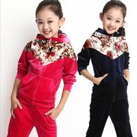 Children Clothing Set Sport Velvet Casual Style Girls Set Long Sleeve Hoodie Long Pants Girls Clothes Kids Children Hoodies